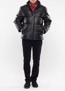 Pánská kožená bunda  city slim, barva černá