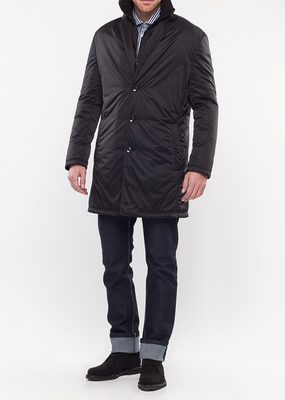 Pánský plášť city slim, barva černá