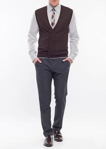 Pánská vesta formal slim, barva hnědá
