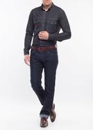 Pánská košile Jeans slim, barva černá