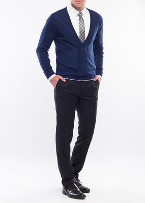 Pánský svetr formal slim, barva modrá