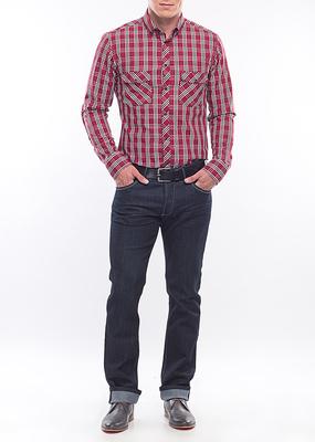 Pánská košile Jeans slim, barva červená