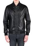 Pánská kožená bunda  jeans slim, barva černá