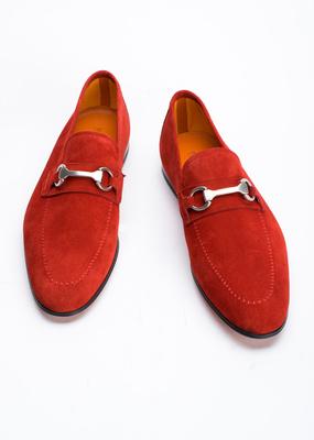 Pánská kožená obuv informal , barva červená
