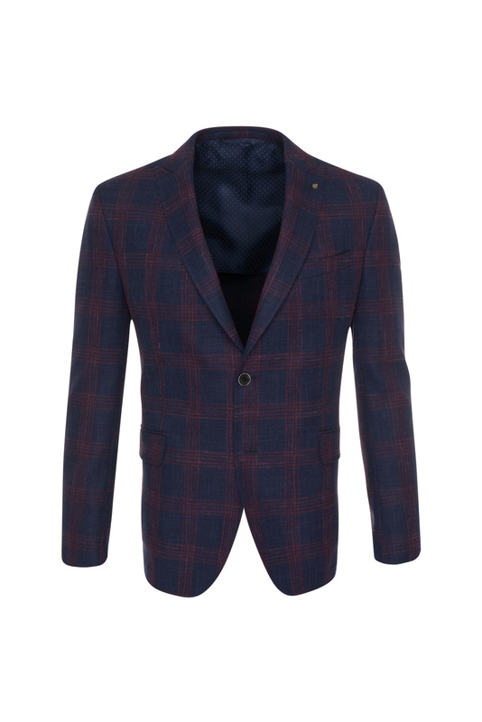 Pánské sako informal , barva modrá, červená
