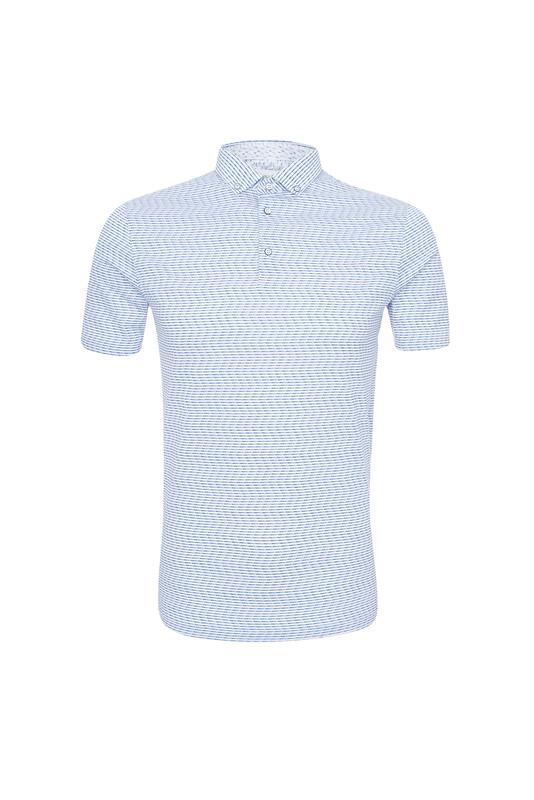 Triko informal slim, barva modrá, bílá