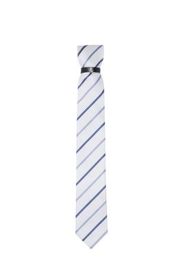 Kravata essential, barva bílá, modrá