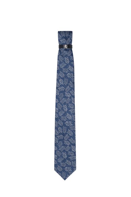 Kravata formal, barva modrá, béžová
