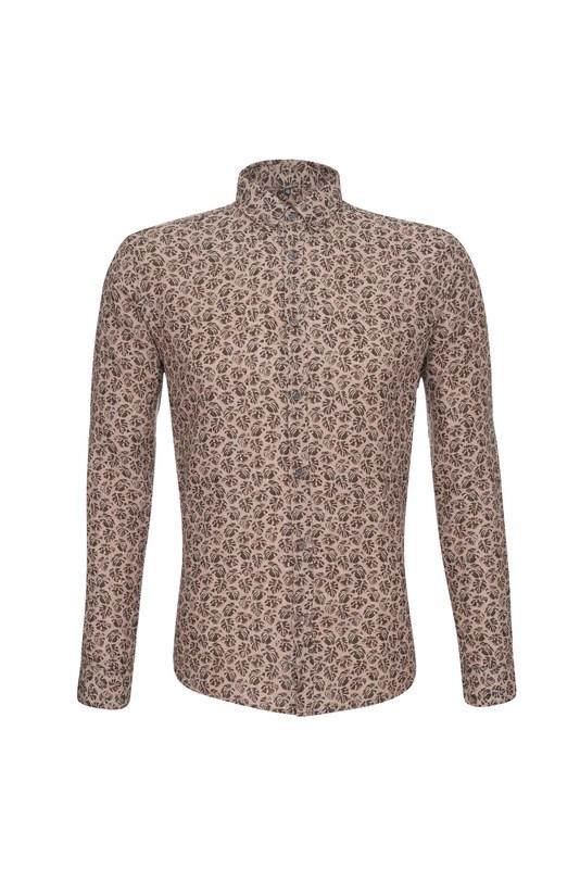 Košile informal slim, barva hnědá