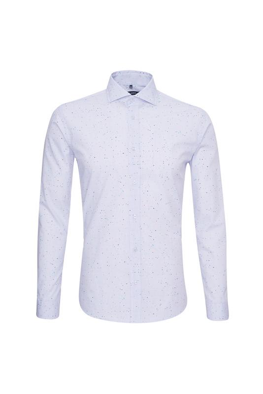 Košile casual slim, barva bílá, modrá