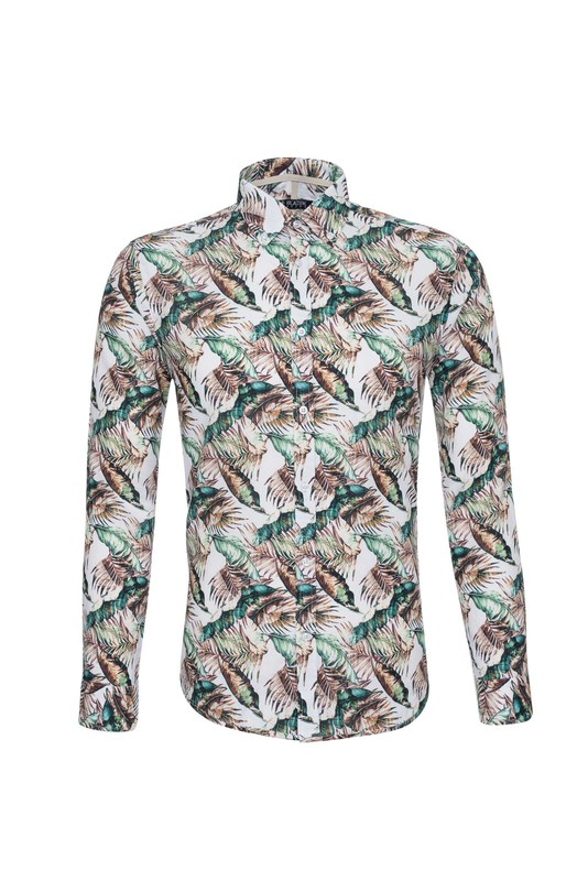 Košile informal slim, barva hnědá, zelená