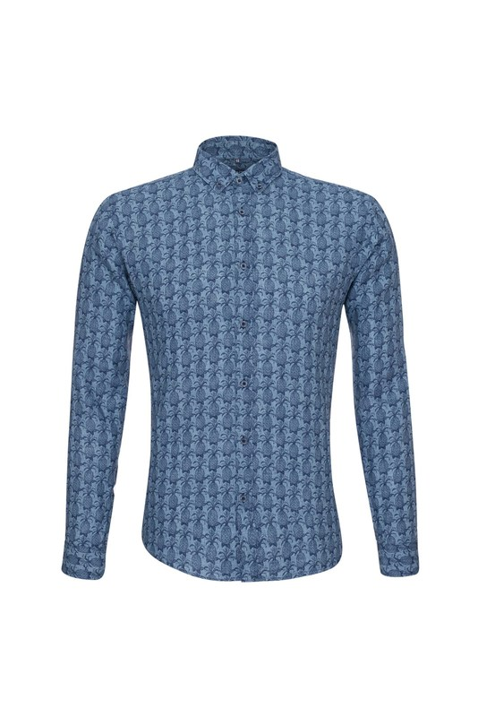 Košile casual slim, barva modrá