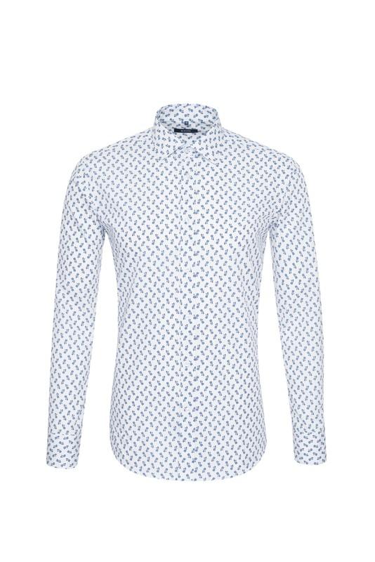 Košile informal slim, barva bílá, modrá
