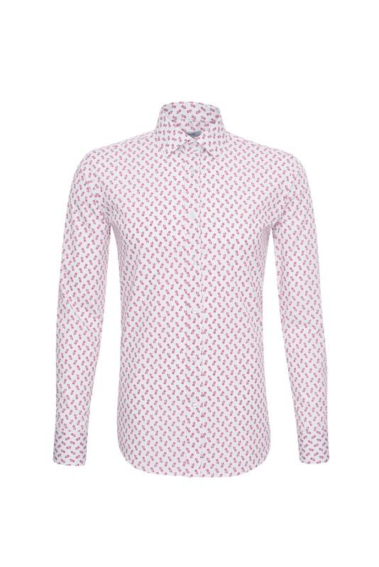 Košile informal slim, barva růžová, bílá