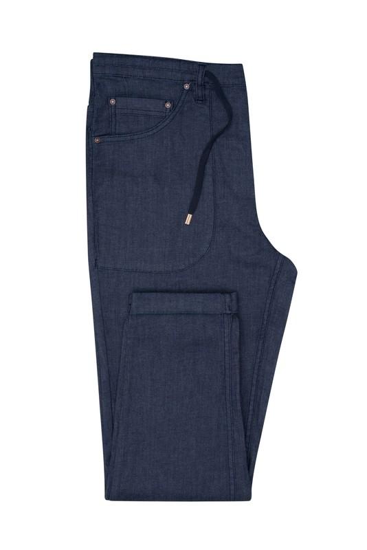 Kalhoty casual slim, barva modrá