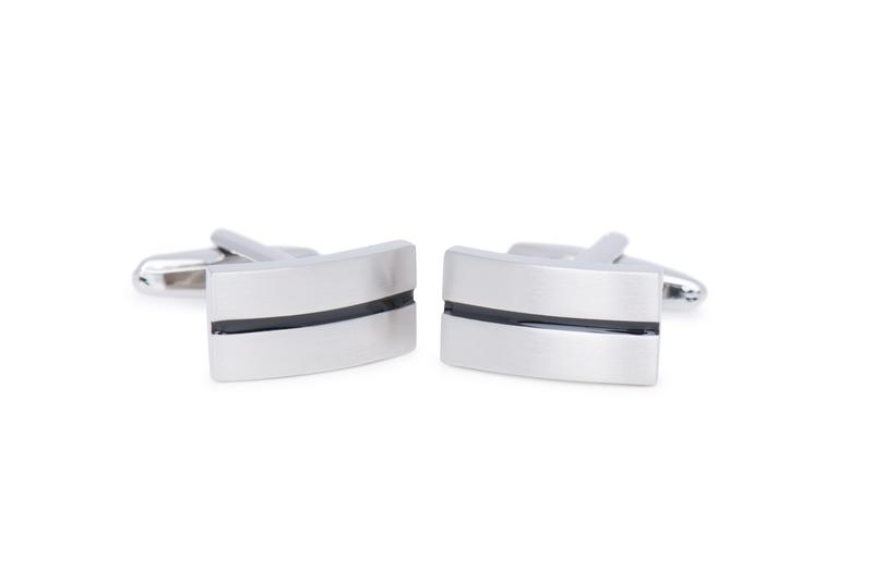 Manžetový knoflíček formal, barva stříbrná, černá