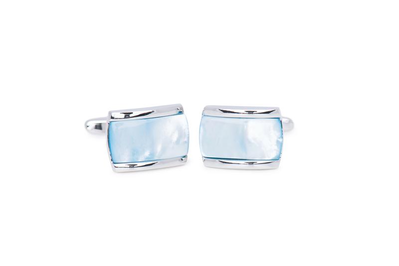 Manžetový knoflíček formal, barva stříbrná, modrá