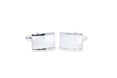 Manžetový knoflíček formal, barva stříbrná, bílá