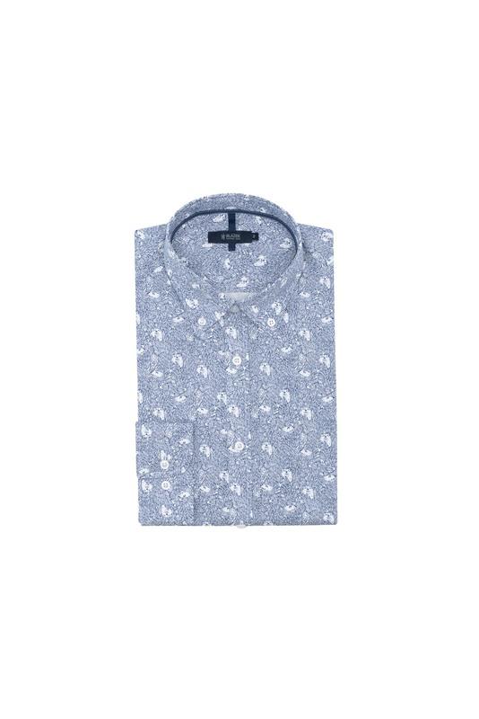 Košile informal slim, barva modrá, bílá