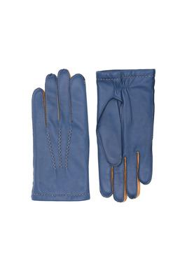 Rukavice formal slim, barva modrá, hnědá