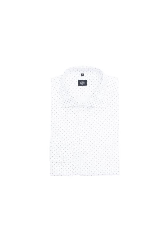 Košile formal slim, barva bílá, hnědá