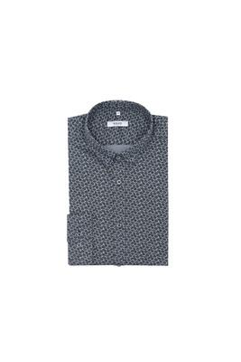 Košile informal slim, barva šedá, černá