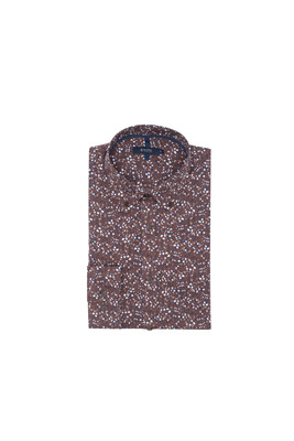 Košile informal slim, barva hnědá, modrá