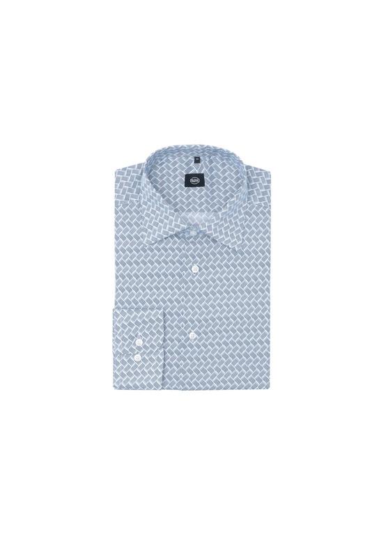 Košile formal slim, barva bílá, šedá