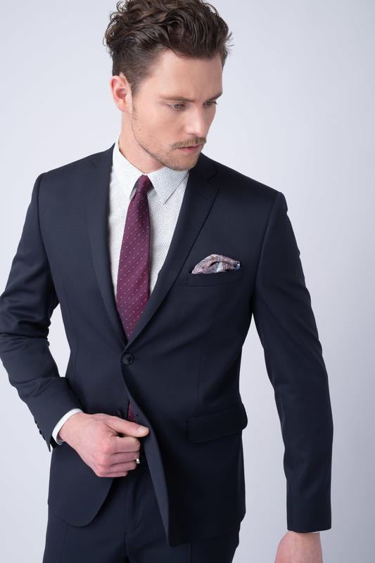Oblekové sako essential slim, barva modrá