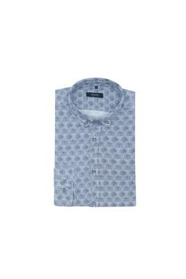 Košile informal, barva šedá, modrá