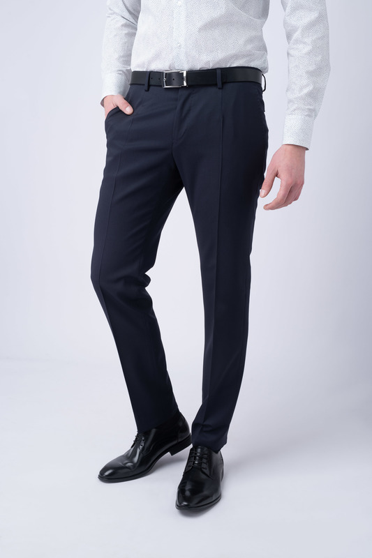 Oblekové kalhoty essential slim, barva modrá