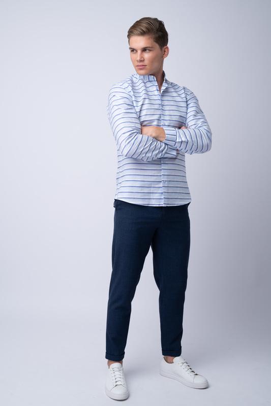 Oblekové kalhoty Z merino vlny a hedvábí