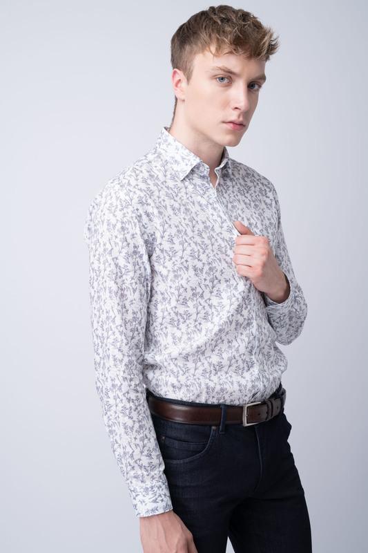 Košile informal slim, barva bílá, šedá