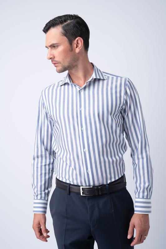 Košile essential slim, barva bílá, modrá