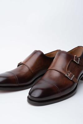Kožené monk shoes S dvojitou přezkou