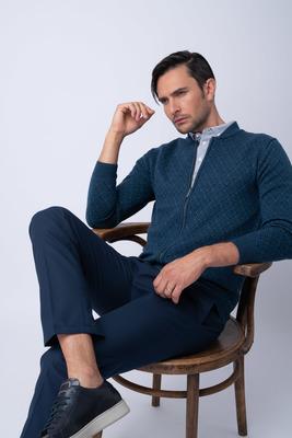 Rozepínací svetr S decentním vzorem