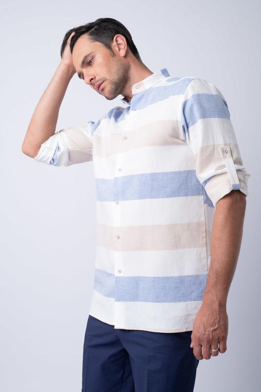 Volnočasová košile Ze směsi bavlny a lnu