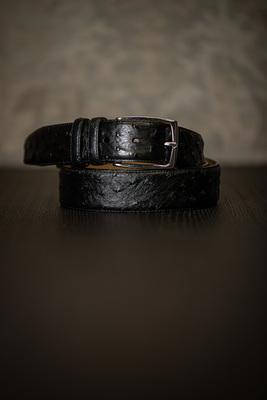 Černý opasek z pravé Pštrosí kůže
