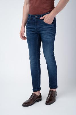Modré jeansy S decentním opráním