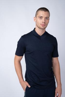 Tmavě modré triko Se stojákem do V