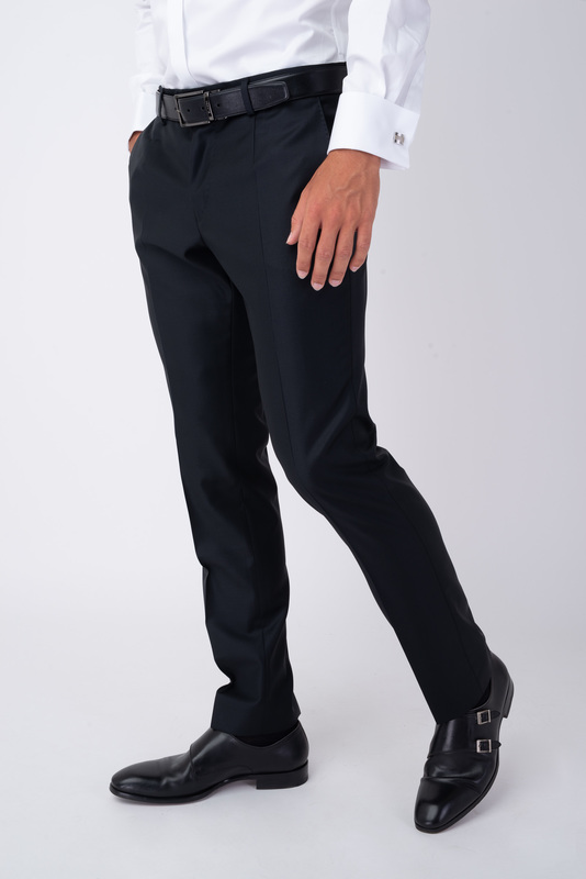 Oblekové kalhoty čistě černé barvy