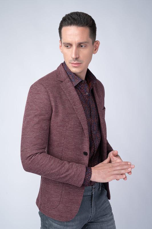 Jersey jacket V odstínech vínové