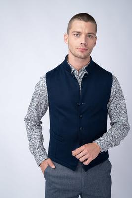 Tmavě modrá vesta Ze 100% bavlny