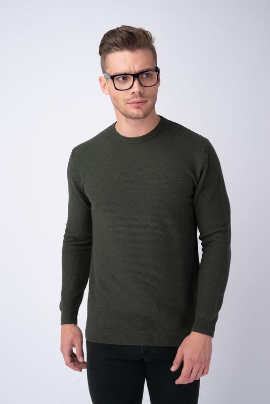Tmavě zelený svetr S límcem do O