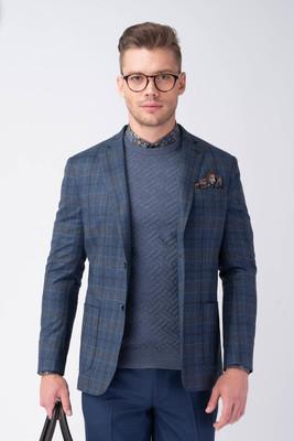 Modré separátní sako S károvaným vzorem