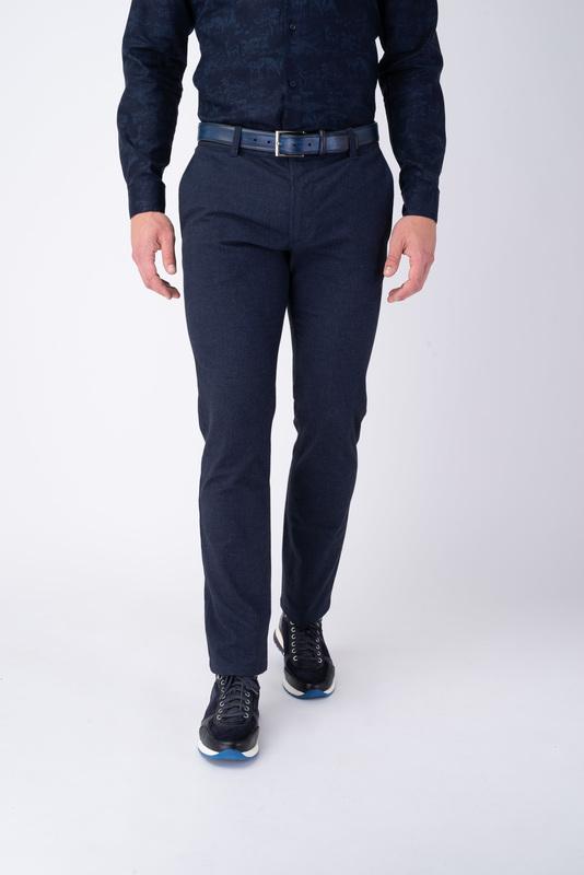 Modré neformální kalhoty Z bavlny s příměsí elastanu
