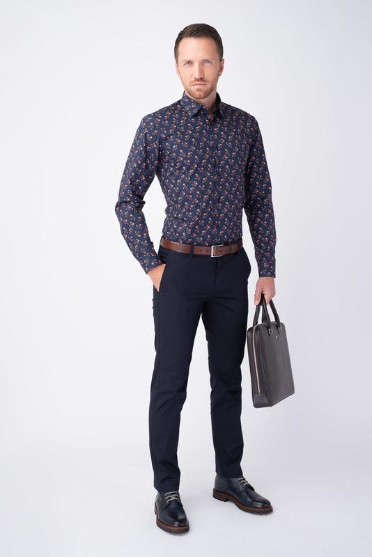 Tmavě modré kalhoty V extra slim střihu