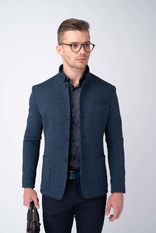 Modré jesey jacket S výraznou strukturou