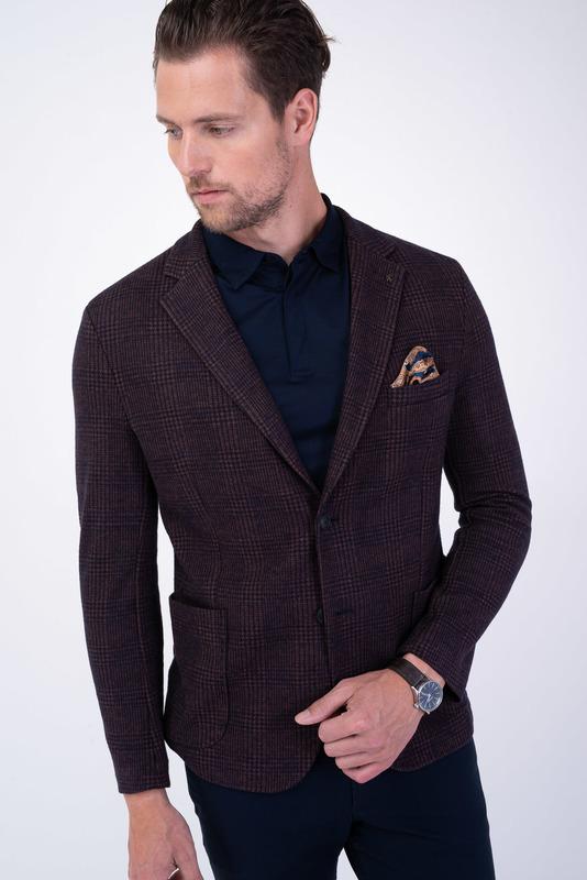 Hnědé jersey jacket S károvaným vzorem