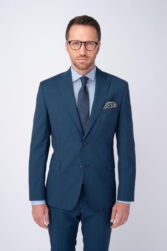 Modré oblekové sako Ze 100% vlny